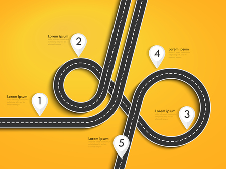 Road trip and Journey route. Winding Road on a Colorful Background with pin pointer