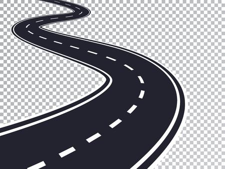 Effetto speciale trasparente isolato strada tortuosa. Modello di infografica posizione strada strada. Vettoriali