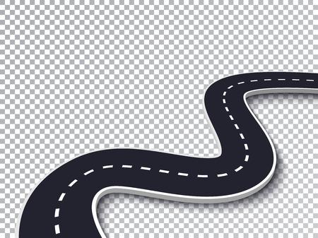 Route sinueuse isolée effet spécial transparent. Modèle d'infographie de l'emplacement de la route.
