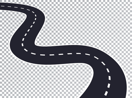 Winding Road Isolated Transparent Special Effect. Road way location infographic template.