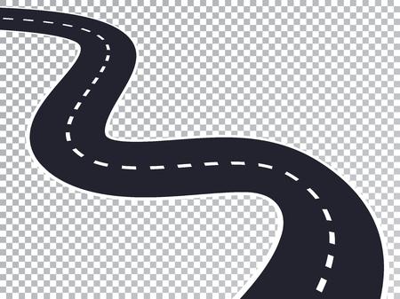 Kręta droga na białym tle przezroczysty efekt specjalny. Szablon infografiki lokalizacji drogi. Ilustracje wektorowe