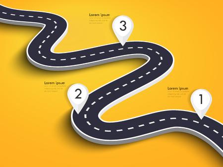カラフルな背景に曲がりくねった道。ピン ポインタを持つ道路道路の場所インフォグラフィック テンプレート。 写真素材 - 105228314