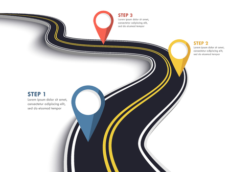 Winding Road on a White Isolated Background. Road way location infographic template with pin pointer.