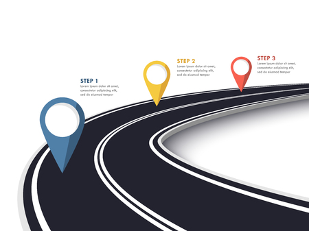 Winding Road on a White Isolated Background. Road way location infographic template with pin pointer. Ilustrace