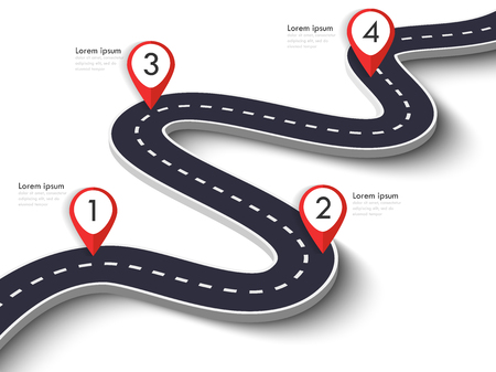 Winding Road on a White Isolated Background. Road way location infographic template with pin pointer. Vektoros illusztráció