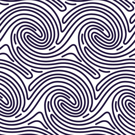Seamless Pattern in Fingerprint Style. Curved Lines Background. Finger Print motive for Wallpaper, Pattern Fills, Fabric Pattern, Textile Pattern. Geometric Hipster Background. Vector EPS 일러스트