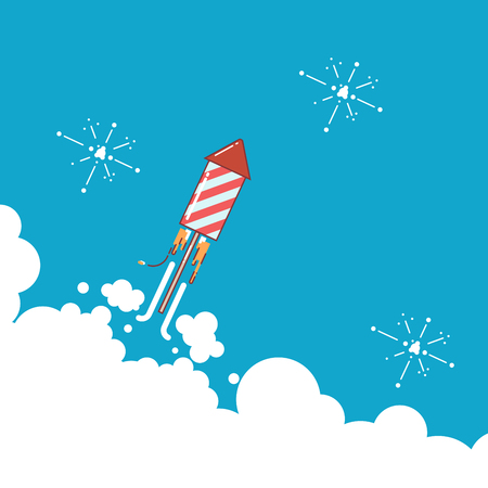 Rocket fireworks icon in modern flat design. Thin line vector illustration. Startup business design. Vector EPS 10