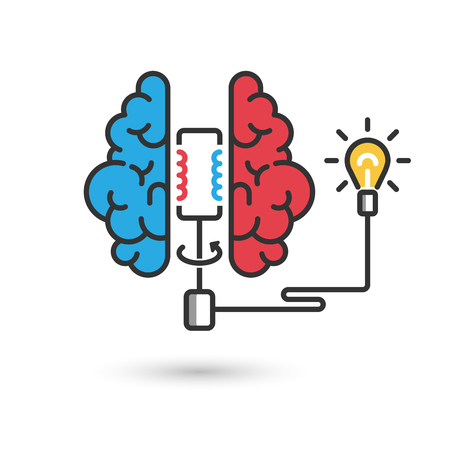 Creative brain icon concept for business illustration. Brain with electric generator and light bulb. Modern flat design thin line banner. Vector EPS 10