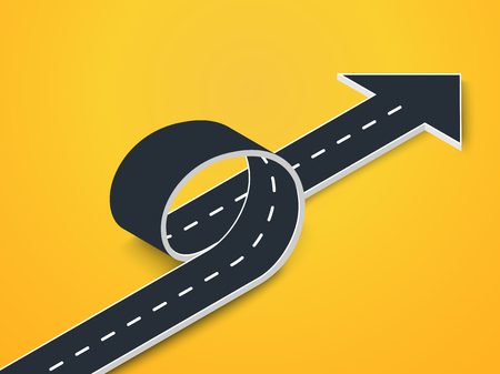 Road Loop with Arrow Isometric View. Winding 3D Road on an Colorful Background.