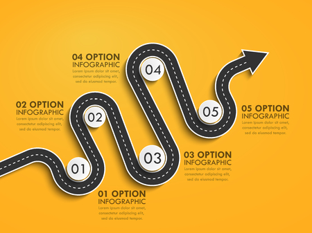 단계별 구조의 도로 위치 인포 그래픽 템플릿. 구불 구불 한 도로 타임 라인. 화살의 형태로 세련된 뱀.