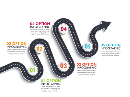 Road way location infographic template with a phased structure. Winding road timeline. Stylish Serpentine in the form of arrows.