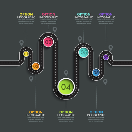 Winding road way location infographic template with a phased structure.