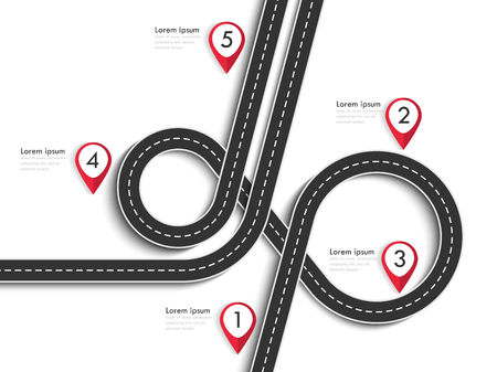 Road trip and Journey route. Winding Road on a White Isolated Background with pin pointer. Illustration