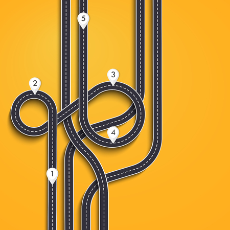 Road trip and Journey route. Winding Road on a Colorful Background with pin pointer.
