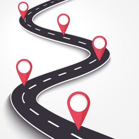 Winding Road on a White Isolated Background. Road way location infographic template with pin pointer. 일러스트