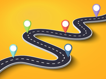 Winding Road on a Colorful Background. Road way location infographic template with pin pointer.