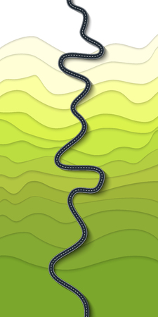 Hermoso camino sinuoso en la ladera de una montaña. Vista superior de la montaña serpentina. Viaje por carretera y ruta de viaje.