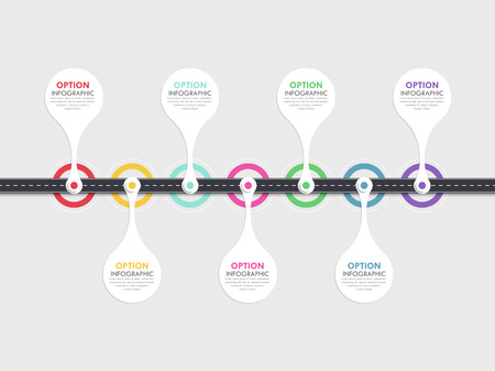 Road way location infographic template with a phased structure. Business circle template with options for brochure, diagram, workflow, timeline, web design.
