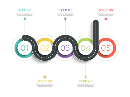 Winding road way location infographic template with a phased structure. Business circle template with options for brochure, diagram, workflow, timeline, web design. Vektorové ilustrace