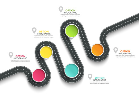 Winding road way location infographic template with a phased structure. Business circle template with options for brochure, diagram, workflow, timeline, web design.