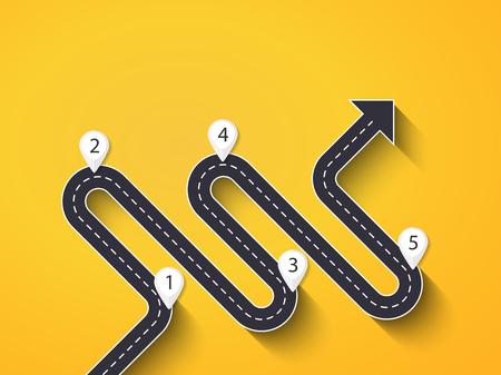 Modèle d'infographie d'emplacement de route avec une structure par étapes. Route sinueuse sous forme de flèches.