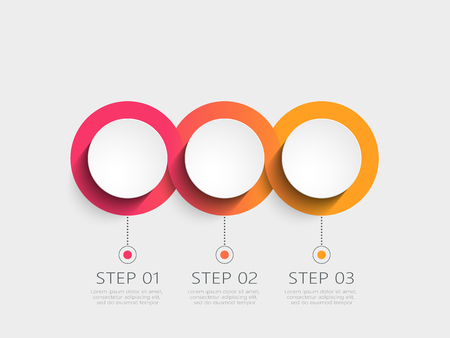 Moderne 3D-Infografik-Vorlage mit 3 Schritten. Geschäftskreisvorlage mit Optionen für Broschüre, Diagramm, Workflow, Zeitachse, Webdesign. Vektorgrafik