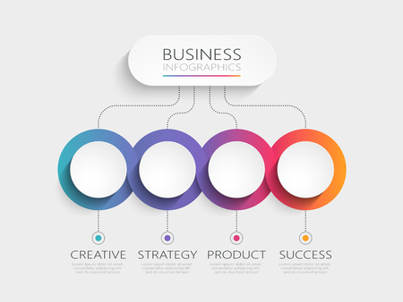 Modern 3D infographic template with 4 steps. Business circle template with options for brochure, diagram, workflow, timeline, web design.