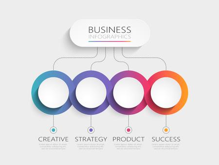 4つのステップが付いた現代の3Dインフォグラフィックテンプレート。パンフレット、図、ワークフロー、タイムライン、Web デザインのためのオプションを持つビジネスサークルテンプレート。