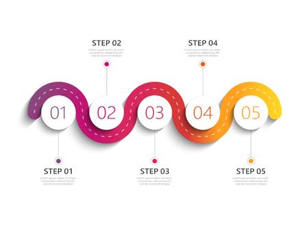 Modèle d'infographie 3D moderne de route sinueuse avec une structure par étapes. Modèle de cercle d'affaires avec des options pour la brochure, le diagramme, le flux de travail, la chronologie, la conception de sites Web. Vecteurs