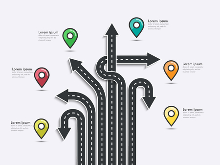 Arrow Road Map of  Business and Journey Infographic Design Template with pin pointer. Road trip, journey route and road to success.