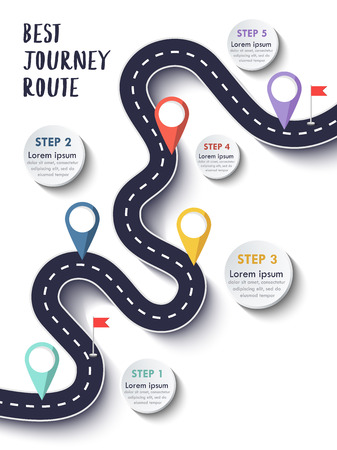 The Best Journey Route. Road trip and Journey route. Business and Journey Infographic Design Template with flags and place for your data. Winding road on a colorful background. Stylish streamers. Çizim