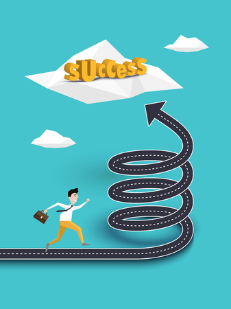 Creative Concept of Career Growth or Path to Success on the Spiral Road. Businessman Running to the Success. Vector EPS 10
