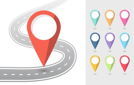 Set of Pin Pointers Flat Icons with road. Vektoros illusztráció