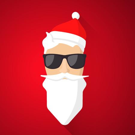Hipster Santa Claus with cool beard and glasses. Merry Christmas card design. Ilustração