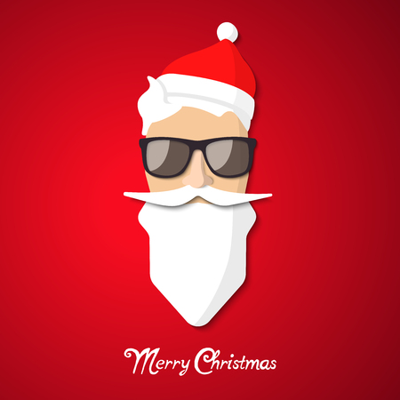 Hipster Santa Claus with cool beard and glasses. Merry Christmas card design.
