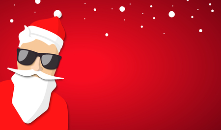 Babbo Natale hipster con barba fresca e occhiali. Buon disegno di cartolina di Natale.