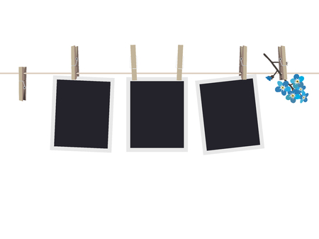 Blank photo frames set hanging on clothespins. Composition of blank photo frames and forget-me-not. Modern flat design banner.