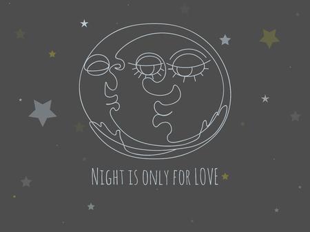 Postcard with cartoon moon. Night kiss for sweethearts.