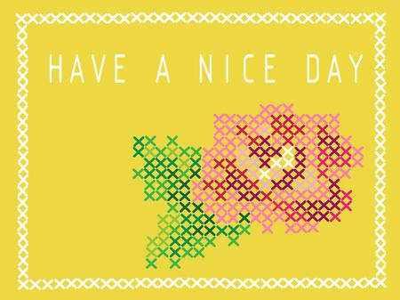 Carte postale avec imitation de point de croix. Bourgeon d'une rose rose. Bonne journée