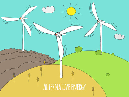 Wind generator and green meadows. Green energy and alternative energy generators. Summer rural landscape doodle.
