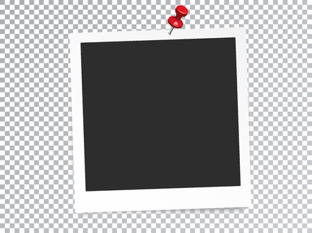 Realistic Photo Frame with Pin Isolated Transparent Special Effect. Vektorové ilustrace