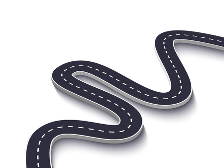 Route sinueuse sur fond blanc isolé. Modèle d'infographie de l'emplacement de la route