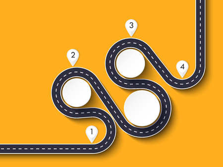 Winding road way location infographic template with a phased structure. Business circle template with options for brochure, diagram, workflow, timeline, web design
