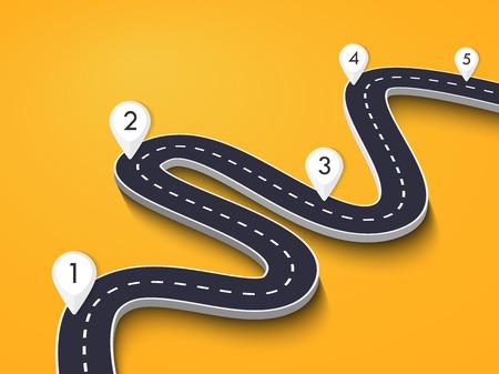Route sinueuse sur un fond coloré. Modèle d'infographie de localisation de route avec pointeur