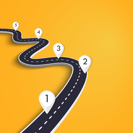 Winding Road on a Colorful Background. Road way location infographic template with pin pointer Illusztráció