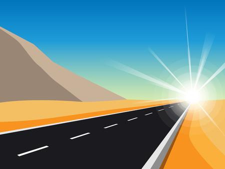 無限へのサンライズロード。ハイウェイと山の風景