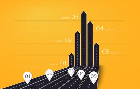 Modern 3D arrow roads map of business and journey infographic with five options for brochure, diagram, workflow, timeline, web design Illusztráció