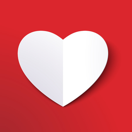 White paper cut love heart for Valentines day or any other Love invitation cards Illusztráció
