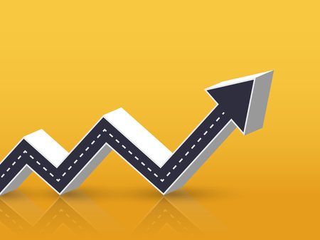 3D Arrow Road Growth Up Concept. Infographic Template for business background