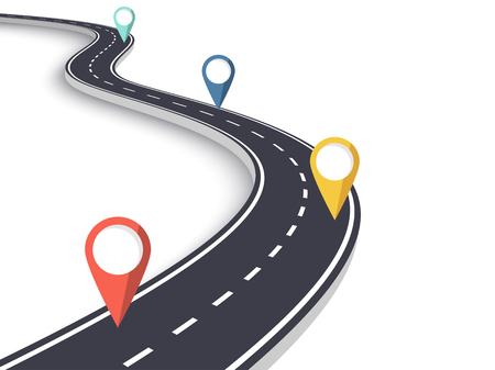 Winding Road on a White Isolated Background. Road way location infographic template with pin pointer